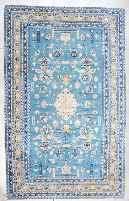 """#7255 Antique India Rug Signed Ghazan  This antique rug made in India in the last quarter of the 19th century is signed Ghazan. It measures 10'2"""" x 16'2"""". It is a fantastic rug  ..."""