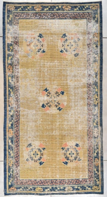 """This Ningxia Chinese Oriental Rug measures 6'5"""" x 12'5"""" (195 x 378 cm). It is the so called 'Rice' design motif on a yellow to wheat colored ground. There are five medallions  ..."""