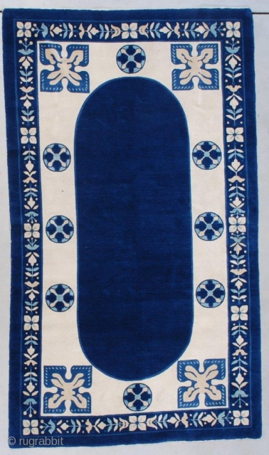 """#7574 Antique Art Deco Chinese Peking Rug This circa 1930 Peking weave Art Deco Chinese Oriental rug measures 4'1"""" x 7'0"""" (124 x 213 cm). This is a very interesting rug. It is  ..."""