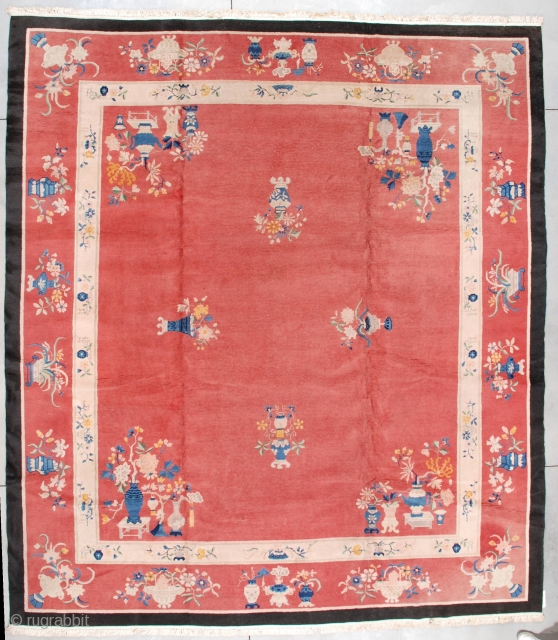 """#7207 Art Deco Chinese Rug This circa 1925 Art Deco Chinese rug measures 11'10"""" X 13'2"""". It has four urns of flowers facing each other in the dark salmon field. The corners are  ..."""