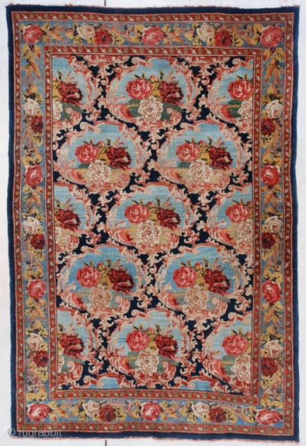 "This circa 1910 antique Bidjar Oriental Rug measures 4'4"" X 6'6"". This is a very lovely French design antique Bidjar. The roses, which are typical in this type of Bidjar, are contained  ..."