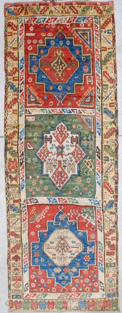 """#7121 Konya  This dated 1870 Konya rug measures 4'8"""" X 12'10"""". It is to my eye one of the most beautiful Konya rugs I have ever seen. The motif consists of three panels.  ..."""