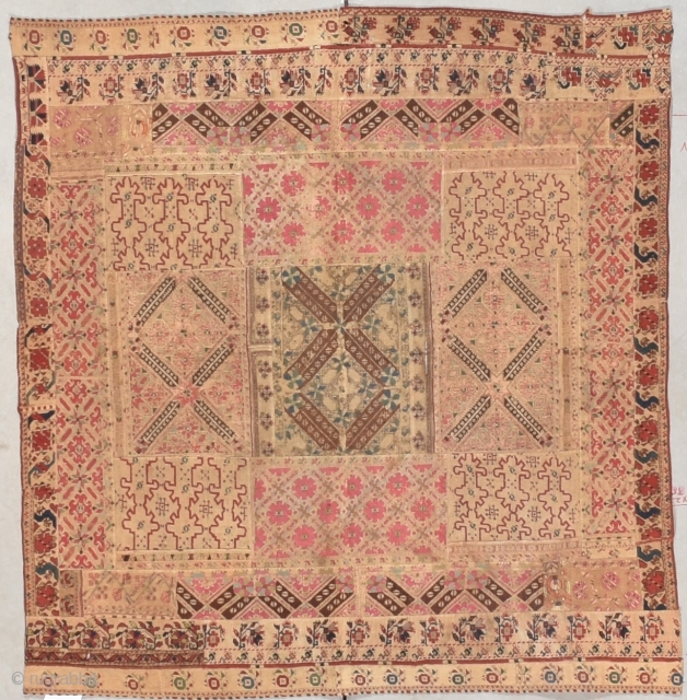 """Antique Bulgarian Embroidery #7808 This Bulgarian Embroidery design bears characteristics associated with Graovsko area. Parts of it are certainly very early 19th century work. The size is 3'8"""" X 4'0"""" (116 x 122  ..."""