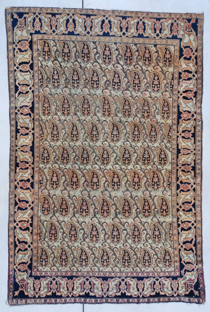 """#7462 Fereghan This Fereghan measures 4'1 x 6'2"""" (122 x 188 cm). Here is something you very rarely get a chance to buy…. a mid 19th century Fereghan. This rug has a boteh  ..."""