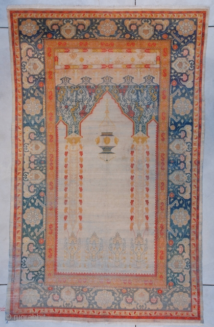 """#7397 Hereke This Hereke measures 6'1"""" X 9'11"""" (185 x 303cm). This is the finest woven wool rug I have ever seen. It is 10×11 knots to the square centimeter which works out  ..."""