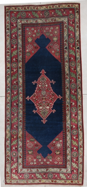"""#5612 Shousha Karabaugh  This Fabulous Classic Caucasian Karabaugh measures 4'0"""" X 9'4"""". It is in essentially mint condition. It has a midnight blue field with maroon to aubergine corners and a pulled medallion.  ..."""