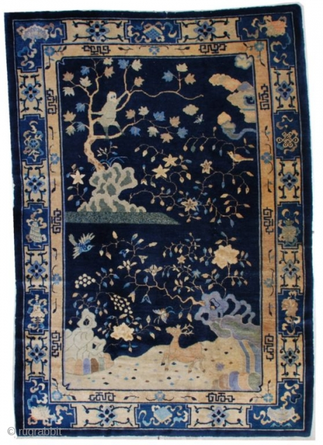 """#7184 Peking Chinese Rug This circa 1910 Peking Chinese Oriental rug measures 6'1"""" X 8'10"""". It has a navy blue ground with a single motif. There is a large silver gray monkey in  ..."""