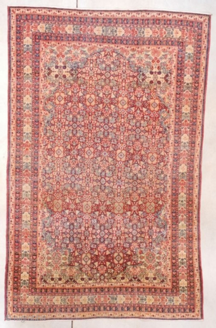 """#7618 Kermanshah antique rug  This circa 1880 Kermanshah measures 4'2"""" X 7'6"""" (127 x 228 cm). If you are looking for a busy rug with an all over design, you have found it!  ..."""