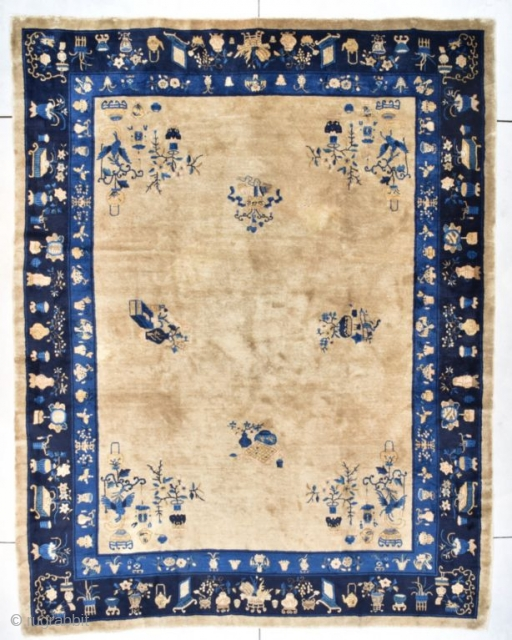 """#7726 Peking Chinese Rug This circa 1900 Antique Peking Chinese Oriental Rug measures 9'2"""" X 11'7"""" (280 x 356 cm). It has a very nice café au lait field with scattered images of  ..."""