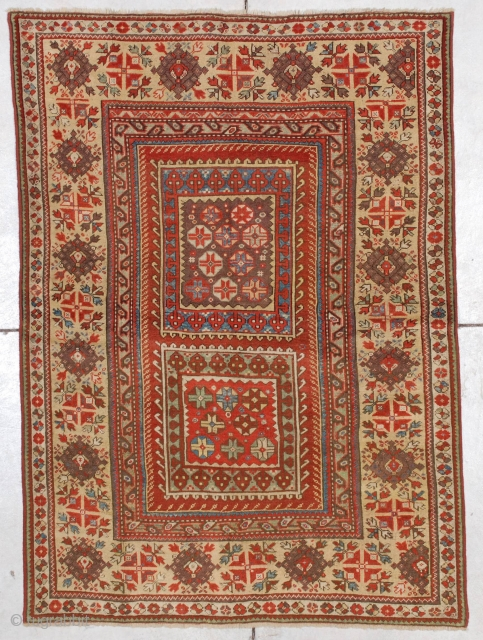"""#7178 Melas    This mid-19th century Melas measures 3'10"""" X 5'4"""" (121  x 164 cm). This motif is known as the box design for obvious reasons.  Two squares are filled  ..."""