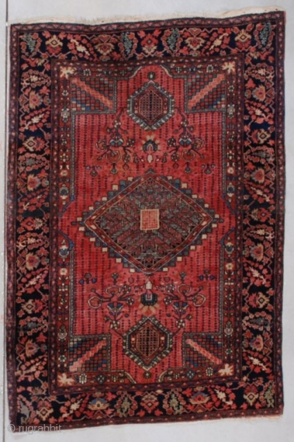 """#7580 Fereghan Sarouk This circa 1910 Fereghan Sarouk measures 3'6"""" x 5'0"""" (109 x 152 cm). This Fereghan Sarouk has perfect full pile. It has a red field with a center diamond medallion  ..."""