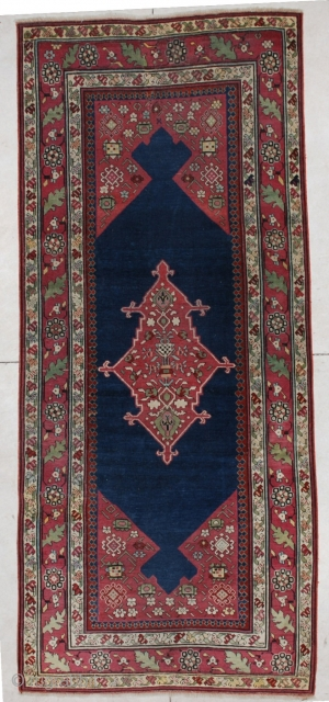 """#5612 Shousha Karabaugh Antique Caucasian Rug This Fabulous Classic Caucasian Karabaugh antique Oriental rug measures 4'0"""" X 9'4"""". It is in essentially mint condition. It has a midnight blue field with maroon to  ..."""