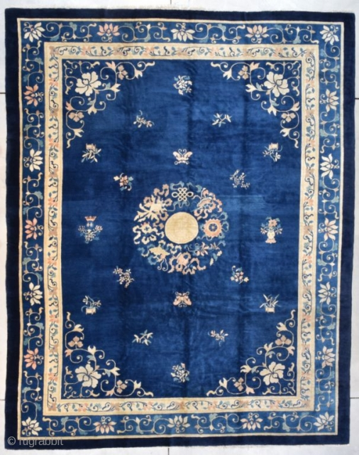 """#7721 Peking Chinese Rug This circa 1900 Peking Chinese antique Oriental Rug measures 9'3"""" X 11'8"""" (283 x 359 cm). It has a dark blue field with a center medallion composed of Shou  ..."""