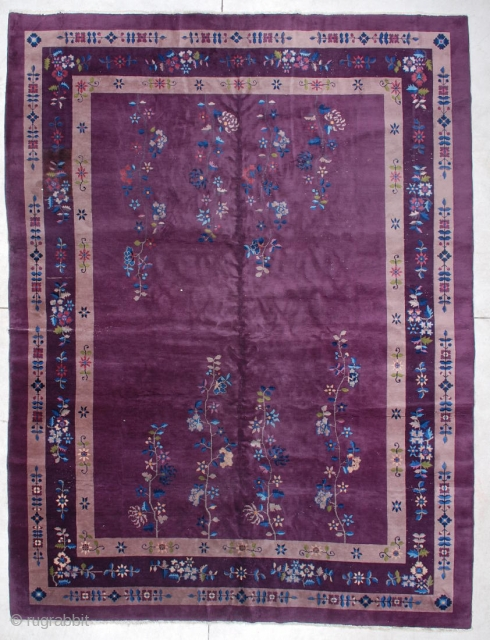 """#6144 Antique Art Deco Chinese  This circa 1930 vintage Art Deco Chinese Oriental carpet measures 8'9"""" X 11'8"""". It has a field design of four flowering vines coming up from each end  ..."""