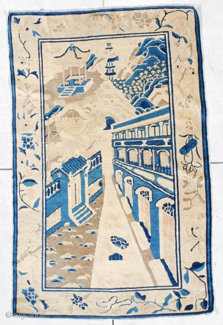"""#6544 Antique Peking Chinese Rug  This 19th century antique Peking Chinese Oriental rug measures 3'0"""" x 4'9"""". It is a fantastic one of a kind Peking Chinese rug with a telescopic view  ..."""