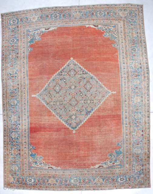 """#6705 Mahal Antique Persian Rug  This antique Mahal Persian Oriental Carpet measures 10'7"""" X 13'6"""". It has a fantastic deep terra cotta ground with a pale blue diamond medallion. It has small  ..."""