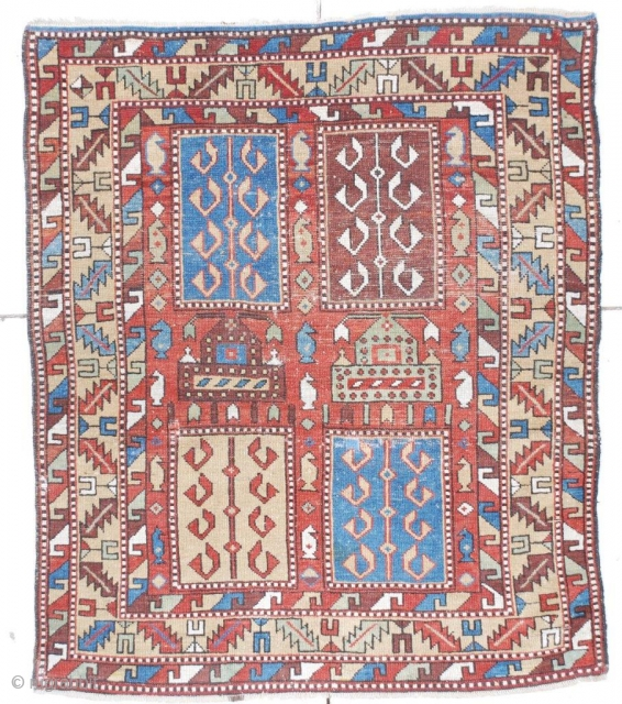 #6733 Tachte Shirvan Antique Caucasian Rug 3'8″ X 4'5″