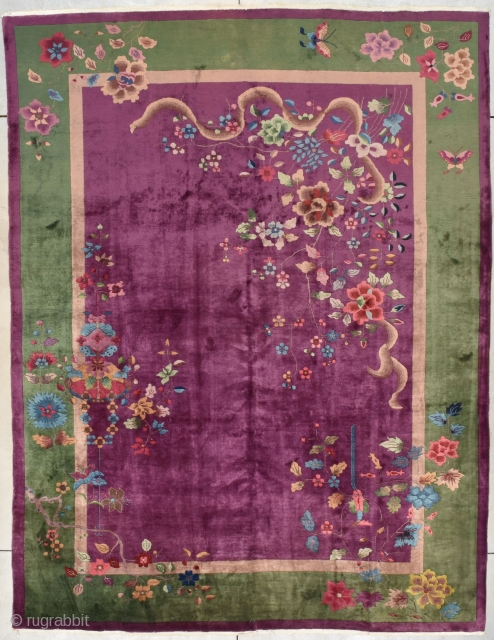 """#7804 Antique Art Deco Chinese Rug This antique Art Deco Chinese Oriental Rug measures 8'10"""" X 11'6"""" (272 x 353 cm). It has an overall Deco motif on a deep purple field with  ..."""
