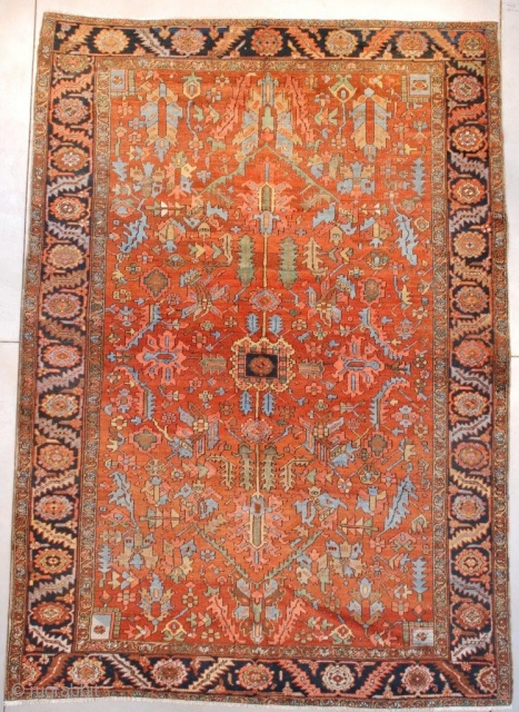"""#7658 Antique Heriz Persian Rug 8'4″ X 11'9″ This circa 1900 antique Heriz Oriental carpet measures 8'4"""" X 11'9"""" (256 x 362 cm). It has a very nice overall geometric design with a  ..."""