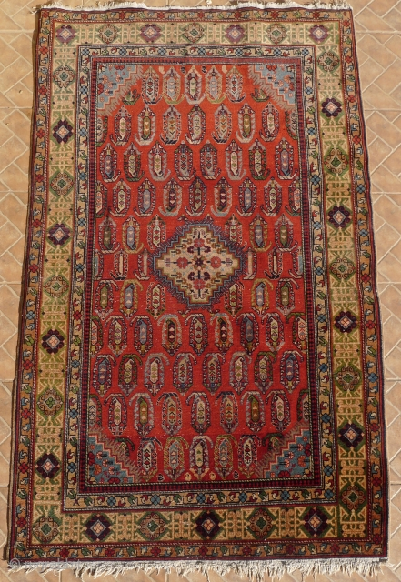 An antique  Chila Shirvan rug, Baku region, SE Caucasus. 6.7ft x 4 ft. Around 1900. The design with a small stepped ivory medallion, surrounded by boteh motifs on a red madder  ...