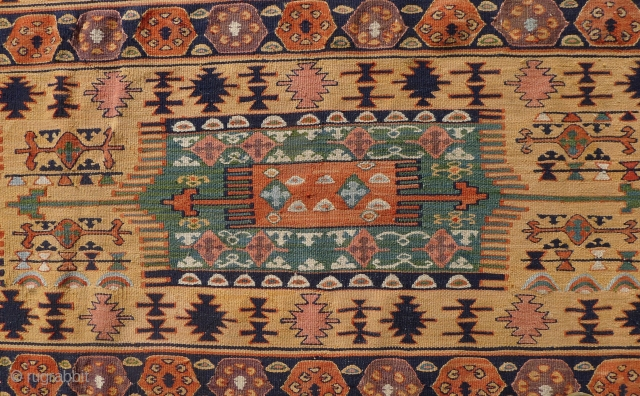 Gaziantep area kilim, Southeast Anatolia, 145 x 210 cm. Pale apricot ground with soft-hued blues, green, madder-red and mauve. RESERVED