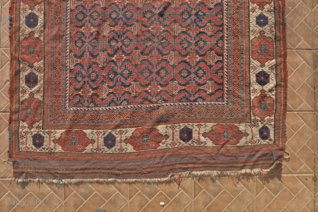 Afshar Rug, Bardsir.  265 x 145 cm. Around 1875. Allover ¨fish¨design with attractive with ground border. Original kilim ends. Condition: Overall low pile with some corner and side-cord damage.