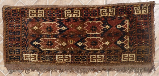 Ersari Beshir Torba, 40 x 90 cm. Ikat design. Provenance: Perez (London) collection. Around 1900