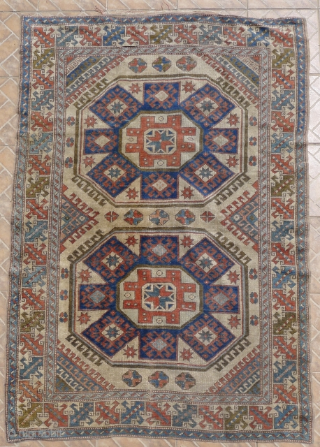 East Anatolian Kurdish (Kars region) rug  195 x 130 cm, around 1920/30. often referred as a´Holbein´and/or Creveli rug,  as this design with large squares and octagons has been depicted  ...