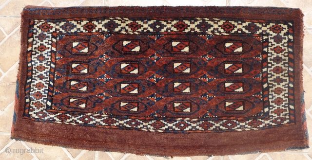 Yomud Torba, probably Igdyr subgroup, 40 x 78 cm.  Excellent full-piled condition with original kilim backside. $200 incl. insured postage worldwide.