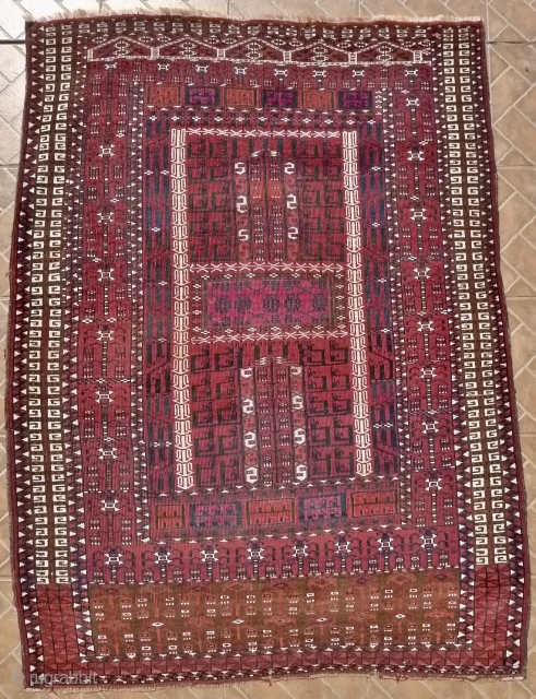 Saryk Ensi with cotton highlights, 4 ft x 5.4ft (122 x 165 cm) around 1900