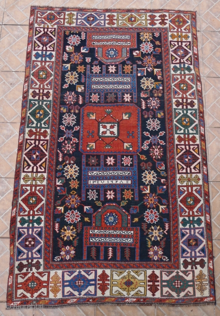 """Shirvan Rug, Shemakha district, Maraza village. 185 x 114 cm. ( 6ft x 3.7ft) Early 20 th. century.  The design with two opposing """"Saphs""""  with a central squarish medallion on  ..."""