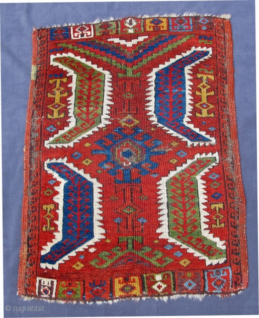 """Central Anatolian Yastik with beautiful  colors including aubergine in very good condition, original selvedges, early 19th century, 29"""" X 21""""[74 X 54cm]  see Morehouse, p. 49 #60."""