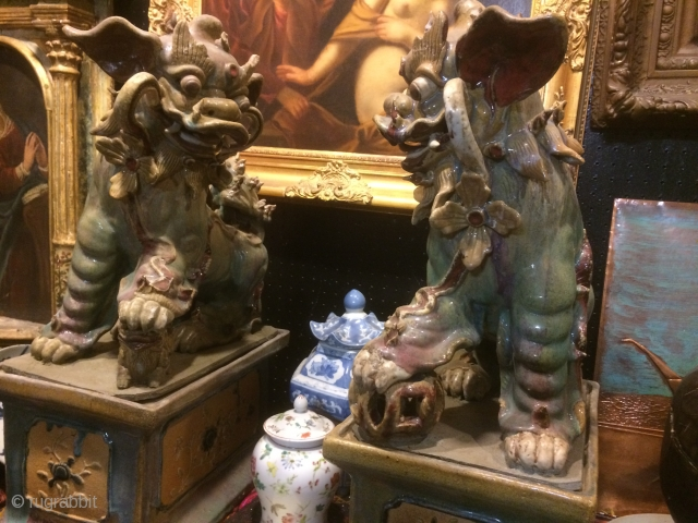 Very Rare hard to find PAIR Chinese Large size Old Junyao Porcelain Foo Dogs. Size 27'' tall and 20'' wide.