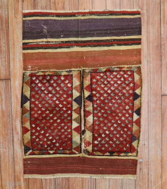 Antique Turkish Melas bag front. May have been a longer piece at one point?  Measure 1'8''x2'3''