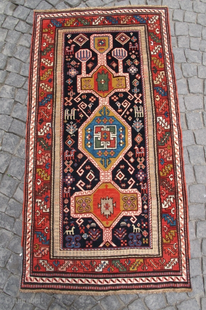 Wonderful Karabag carpet. Very nice colours, good condition. No any hole. Size: 75 x 39 inches (1,90 X 0,98 cm)  