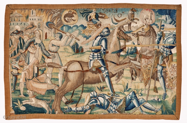 Tapestry fragment from Brussels, 16th century, Incredibly finely woven, Size: 81 x 53 cm. ( 31.9 x 20.9 inch ). For more pieces please visit my website: www.sadeghmemarian.com