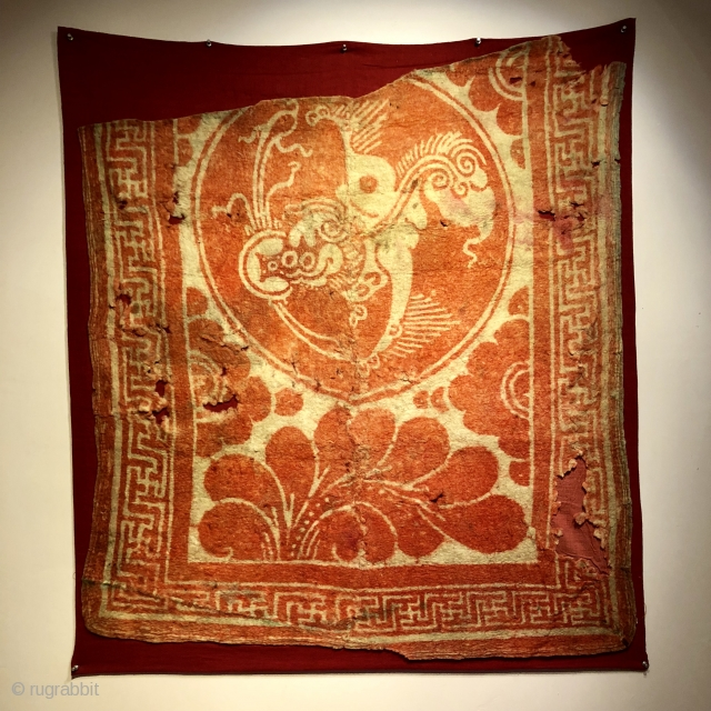 Year of the Dog. resist dyed felt depicting a wonderful lion dog, early 16 th. century.