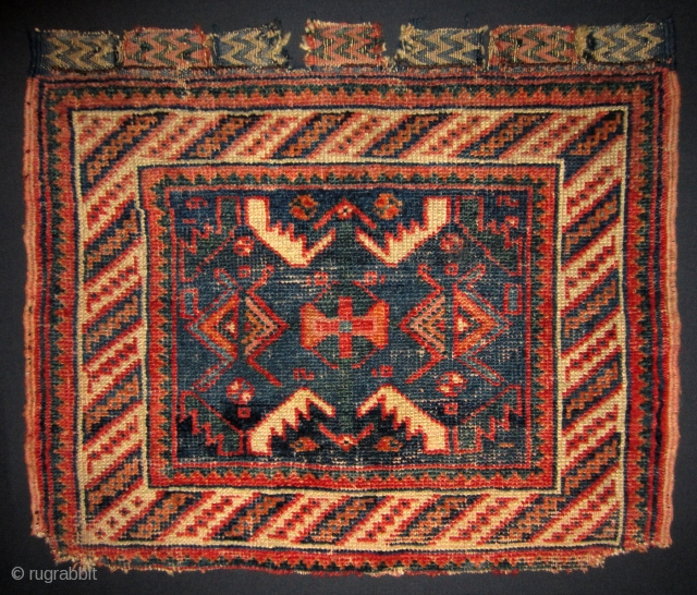 Afshar bag face 19th cent. Mounted on cotton fabric. 54 x 46 cm More info if you ask