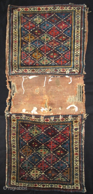 Shahsavan saddle bags 19th cent. Worn as can be seen on photos. 54 x 133 cm full size Warp wool, weft cotton on front, wool on back. Symm.  knot, 120 000/m2 Natural colors. More info if you  ...