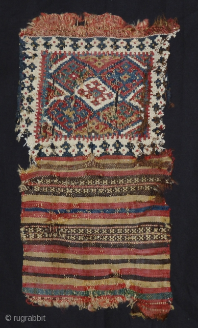 Small Qashgay bag fragment 19th cent. 19 x 37 cm all over. Front: Slit kilim wool and white cotton. Back: Wool mixed technics. Bright colors More info or photos if you ask.