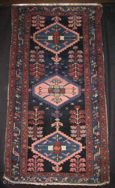 Antique Hamadan Mehraban circa 1880. 103 x 194 cm. Symm. knot. All wool. Need some repair. More info or photos if you ask.