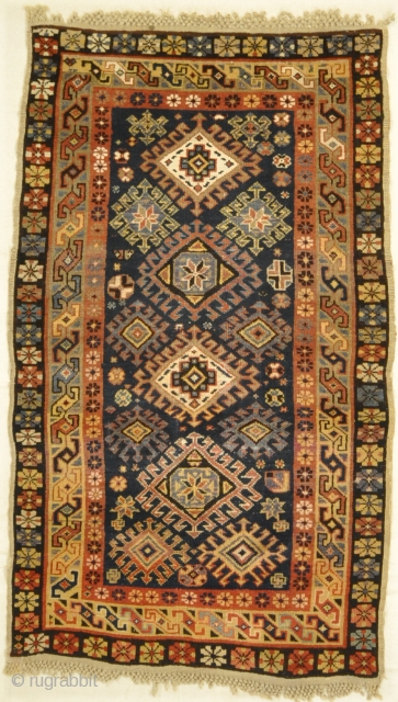 Antique  Caucasian rug, cotton foundation, with some cotton highlights, perfect condition with macrame ends.