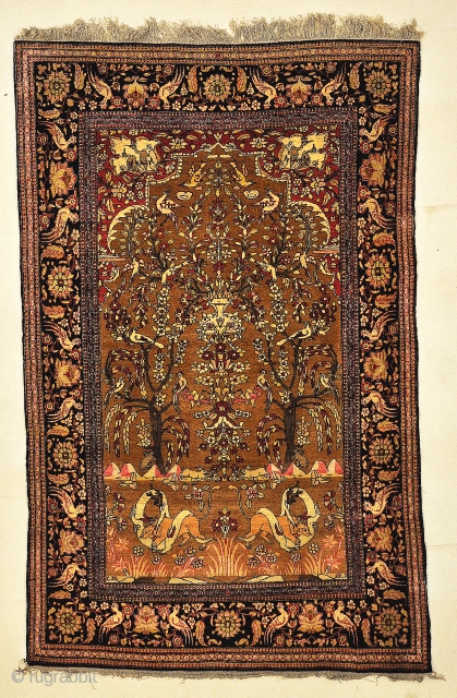 Antique Persian Wool Isfahan Tree of Life Genuine Authentic Carpet Art Intricate