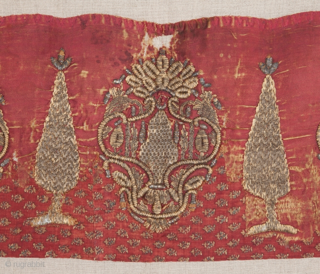 Ottoman Embroidery Fragment  ( backed on linen professionally ) 23 x 116 cm
