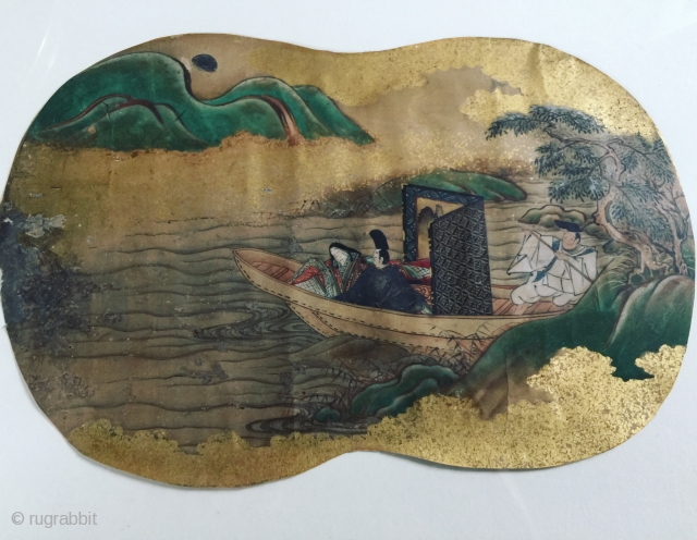 17th century Japan landscape painting fan Rinpa school please ask for more information