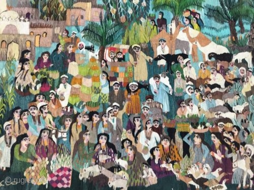 "20th century Egyptian wool tapestry Wissa Wassef Garya Mahmoud ""Market Place""