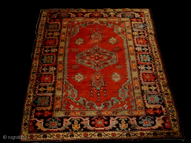 West Anatolian Rug 16th century, Ushak with small medallion and so called Gothic border Design hand knotted Workshop Rug  Austro-Hungarian rule in Bosnia and Herzegovina 