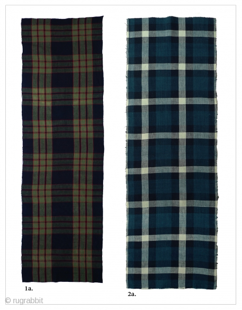 """Vintage Japanese Cotton Plaids. Bought in Japan in the 1970s - probably older. Used for futon covers. #1a: 47.5"""" x 14"""" - Very good condition except for some discoloration on the reverse  ..."""
