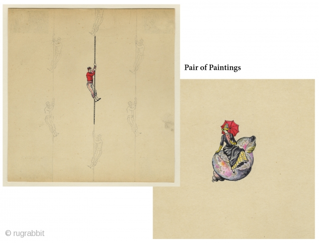 "Miniature Paintings. France, c.1880s. Gouache on paper. ""Rope Climber"" figure is 1"" in height (the repeat has been penciled in); ""Lady on Shell"" is 1.5"" high. These small figures were created specifically  ..."
