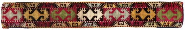 "Uzbek (Lakai?) Headband. Uzbekistan. Early 20th century. Fine silk cross stitch; early 20th century Russian printed-backing. 22"" x 3"". Fair to poor condition - embroidery abraded in spots; some color runs; very  ..."